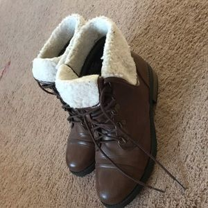 Brown and Cream Ankle Boots